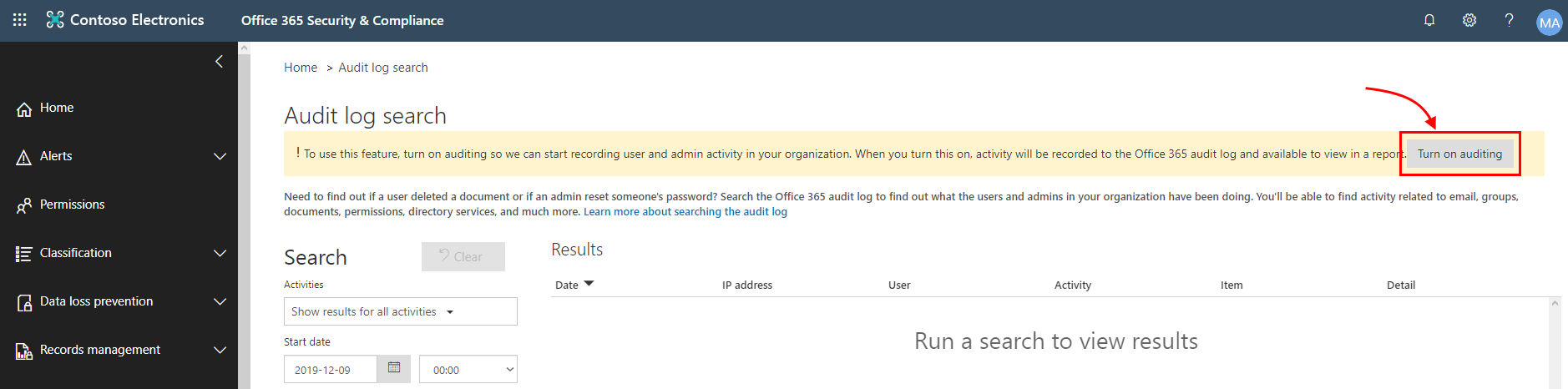 Microsoft 365 Security & Compliance Center - Turn on auditing