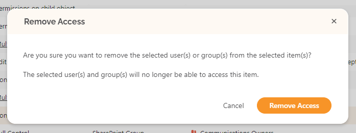 SysKit Point User Access report Remove Access action prompt