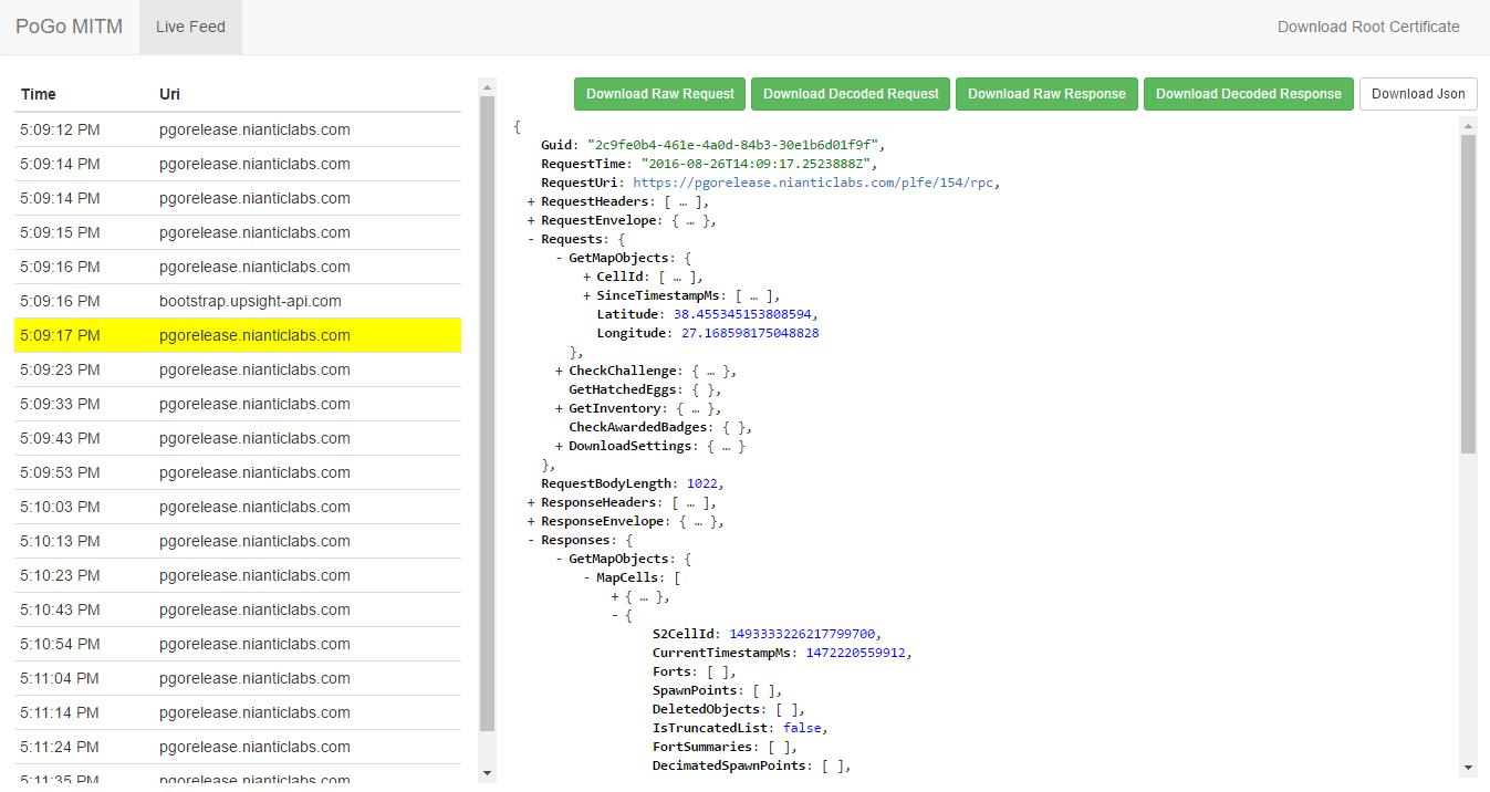 PoGoMITM WebUI Screenshot