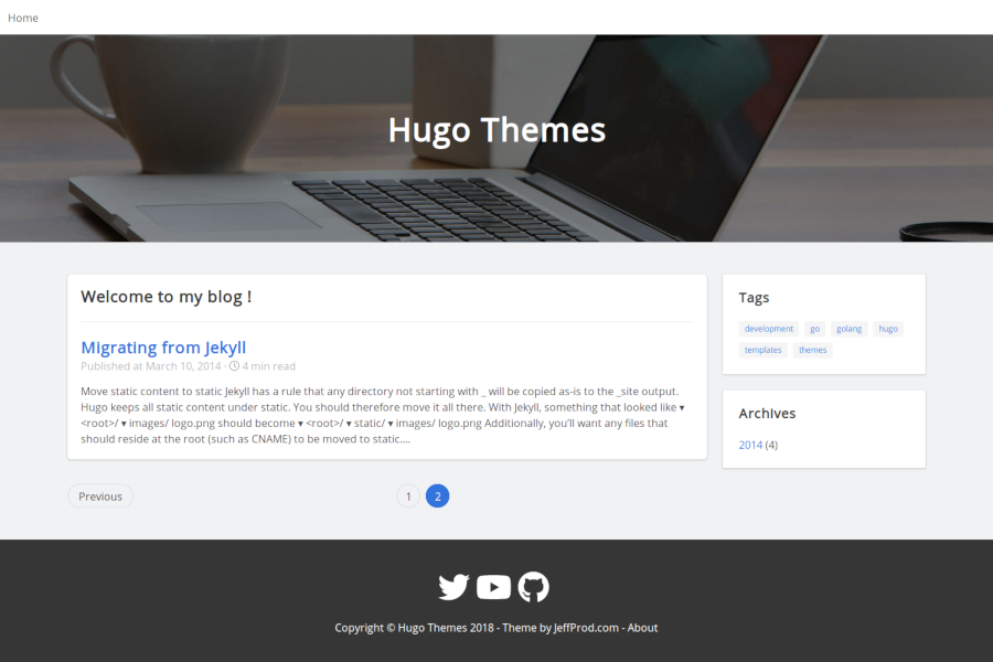 JeffProd HUGO blog theme