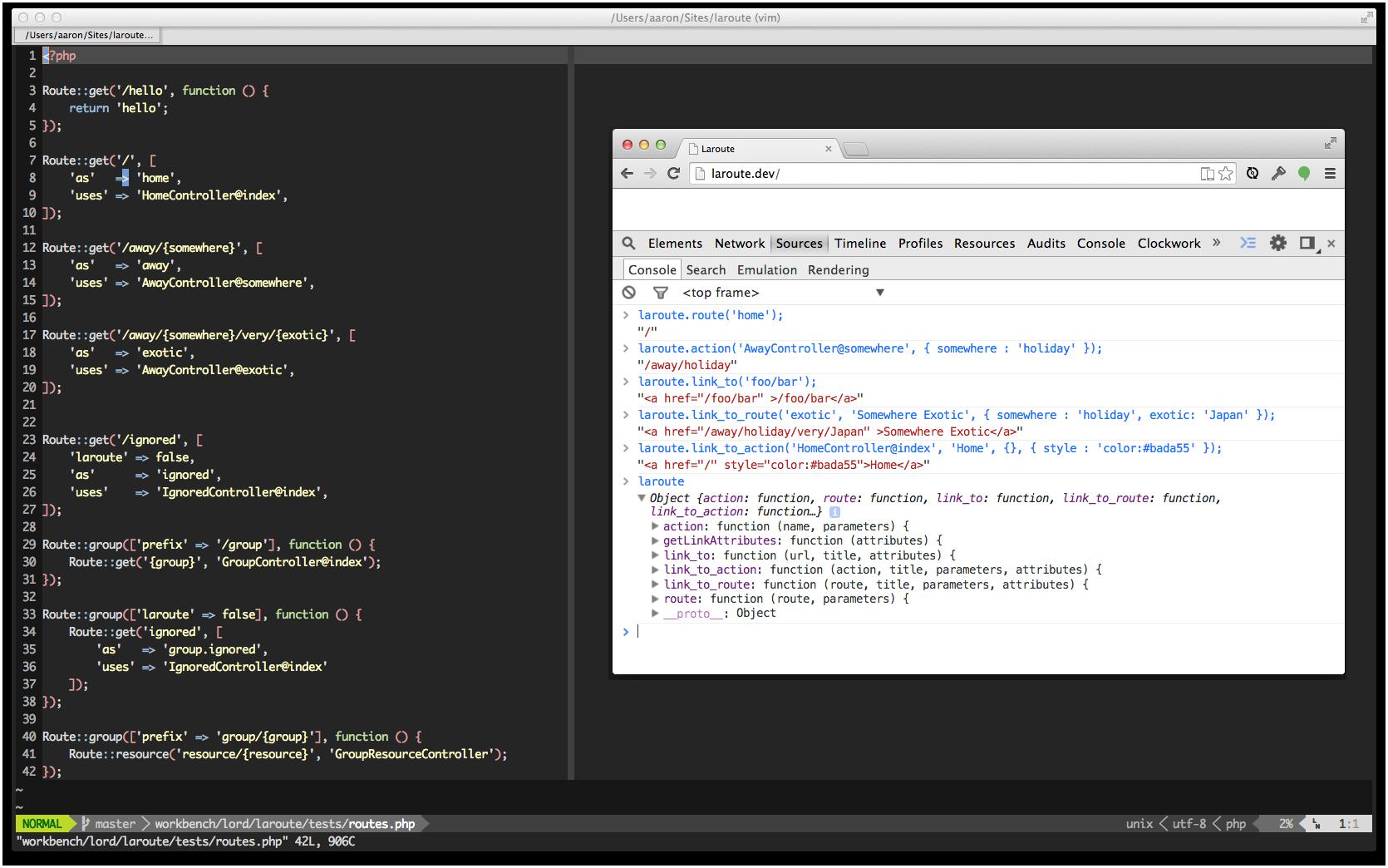 Generate Laravel route URLs from JavaScript