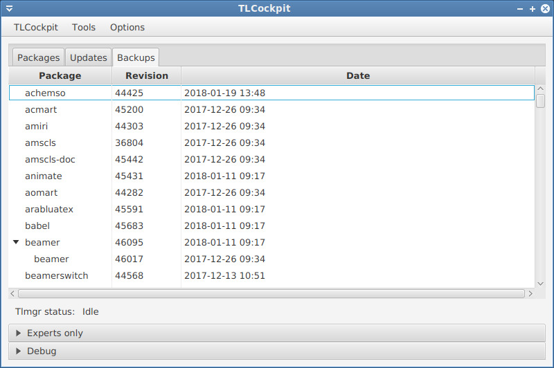 Backup listing view