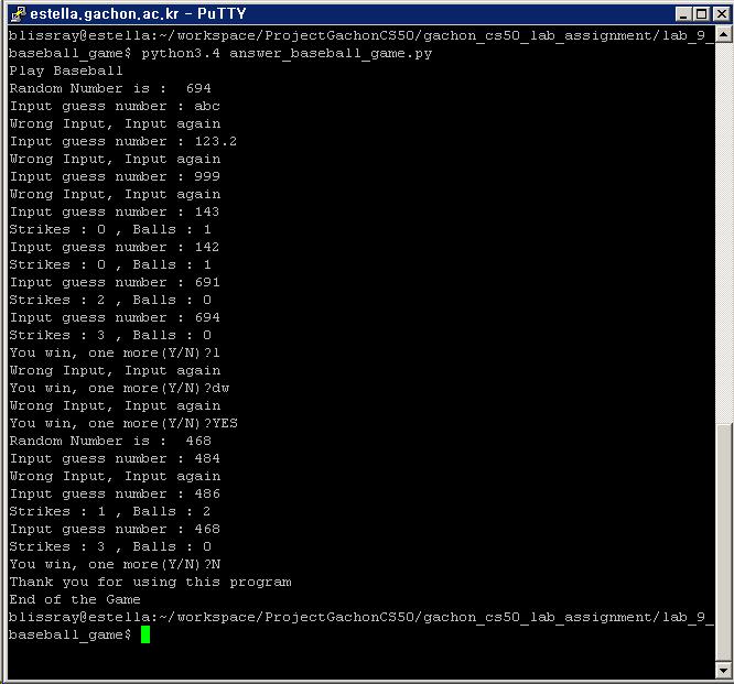 Program running screen shot