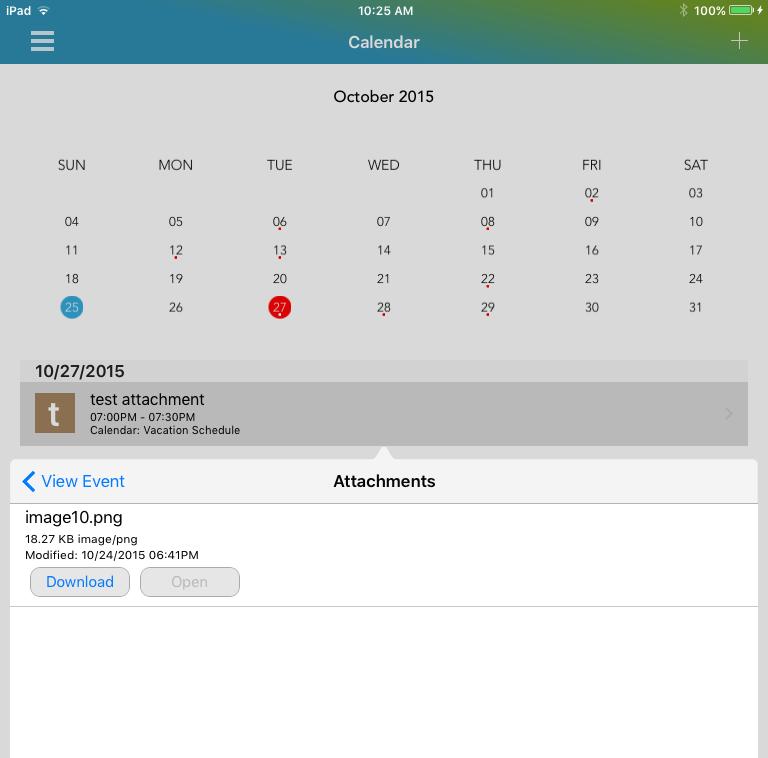 iOS calendar event showing attachments