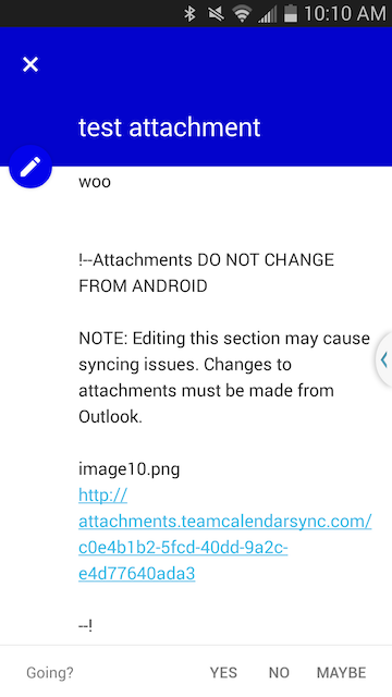Android calendar event showing attachments