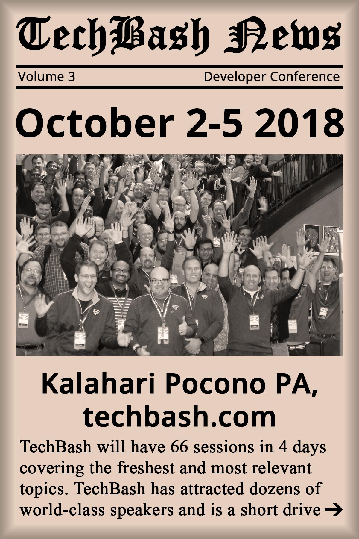 Register for Techbash 2018 developer conference at techbash.com
