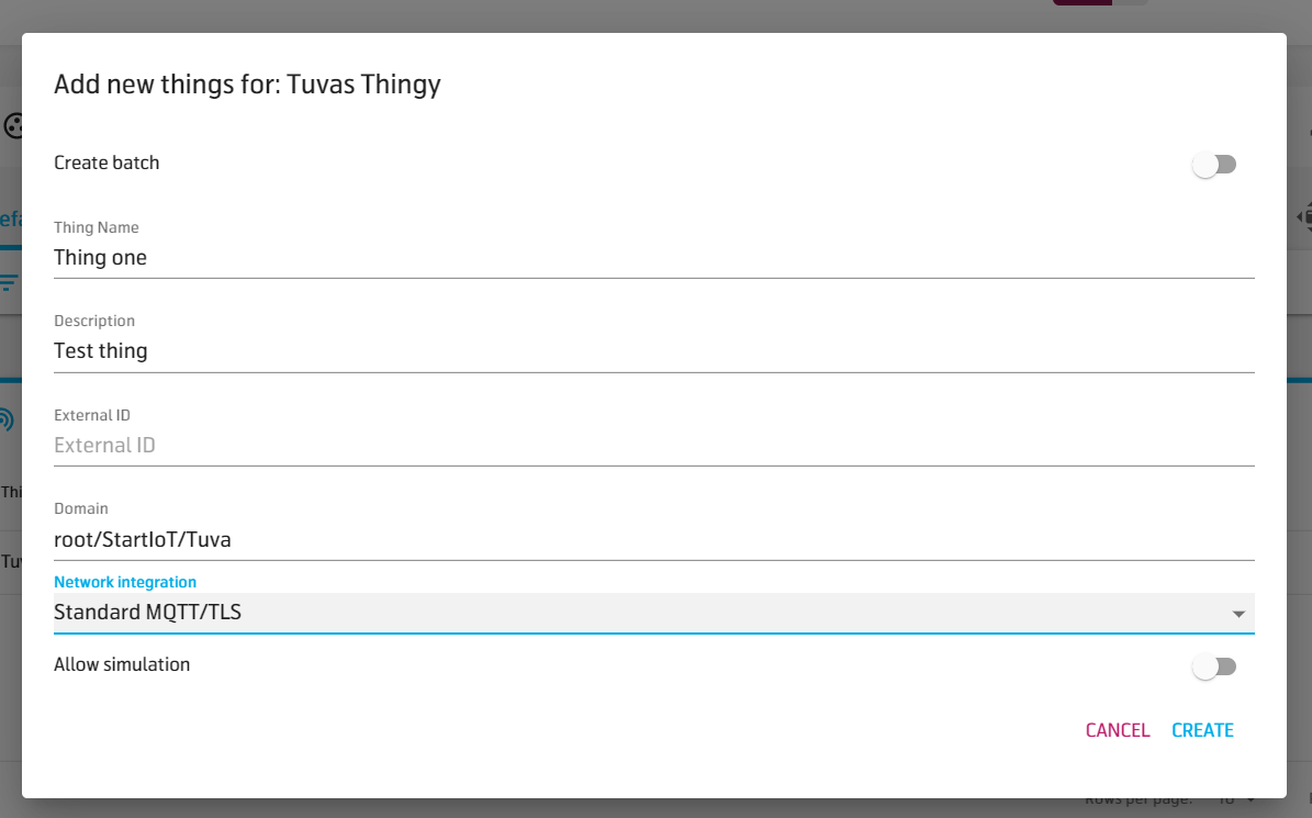Configure new Thing in Thing Type