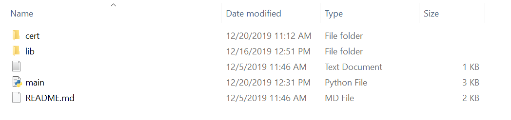 Folder with project code