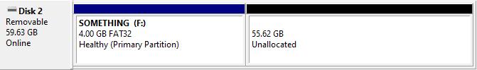 example: 4 GB FAT32 on 64 GB