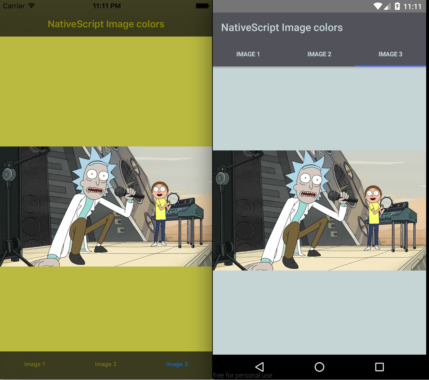 NativeScript image colors