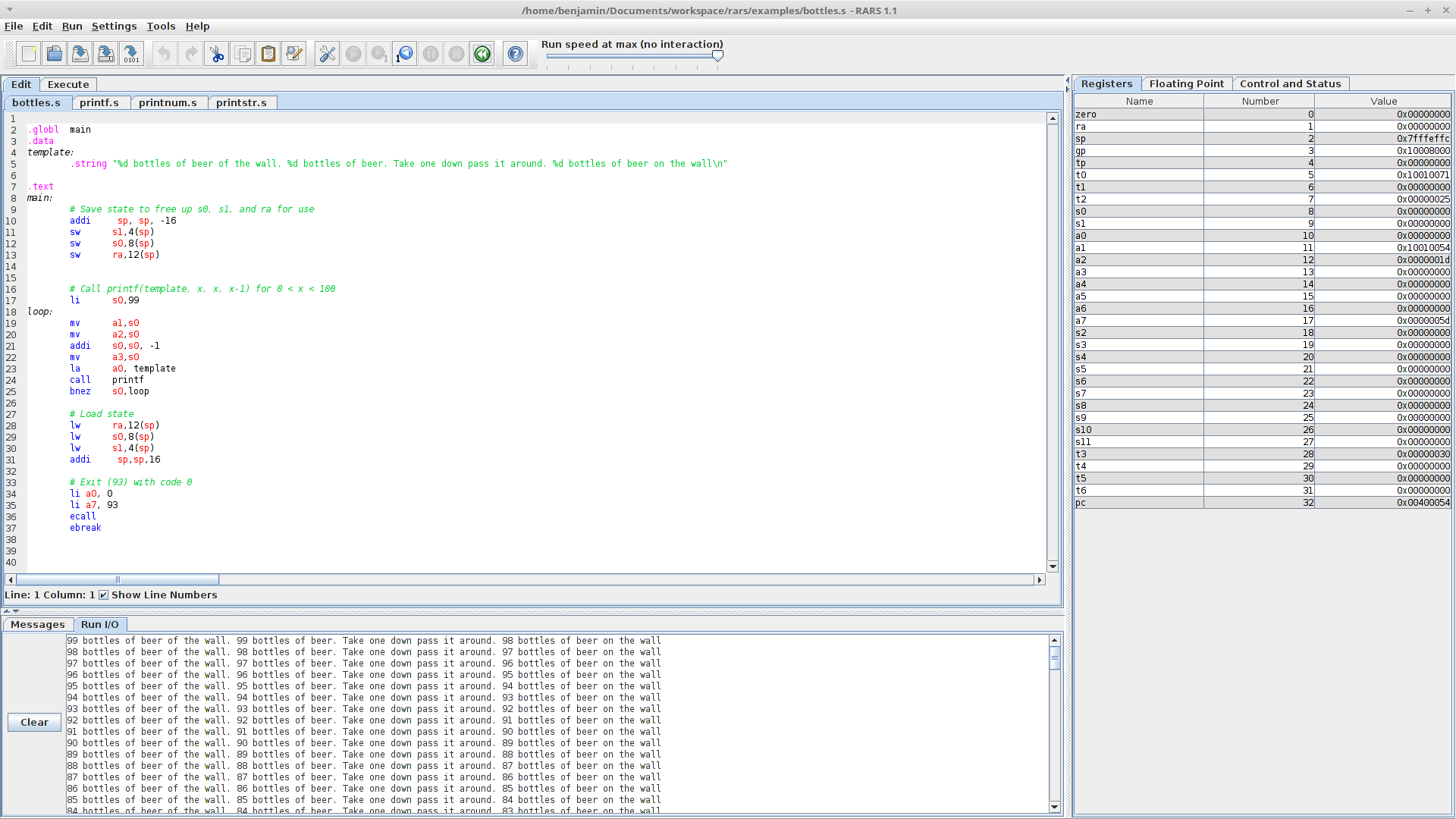 Screenshot of sample program