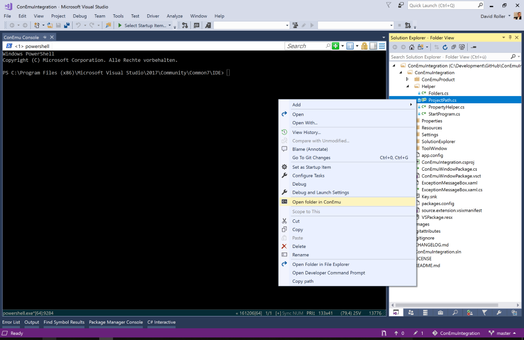 ConEmu integration in folder view mode