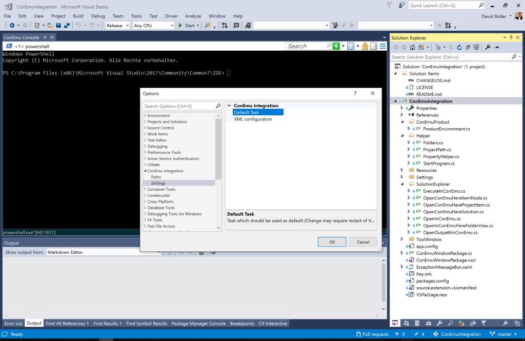Default ConEmu task in the visual studio settings