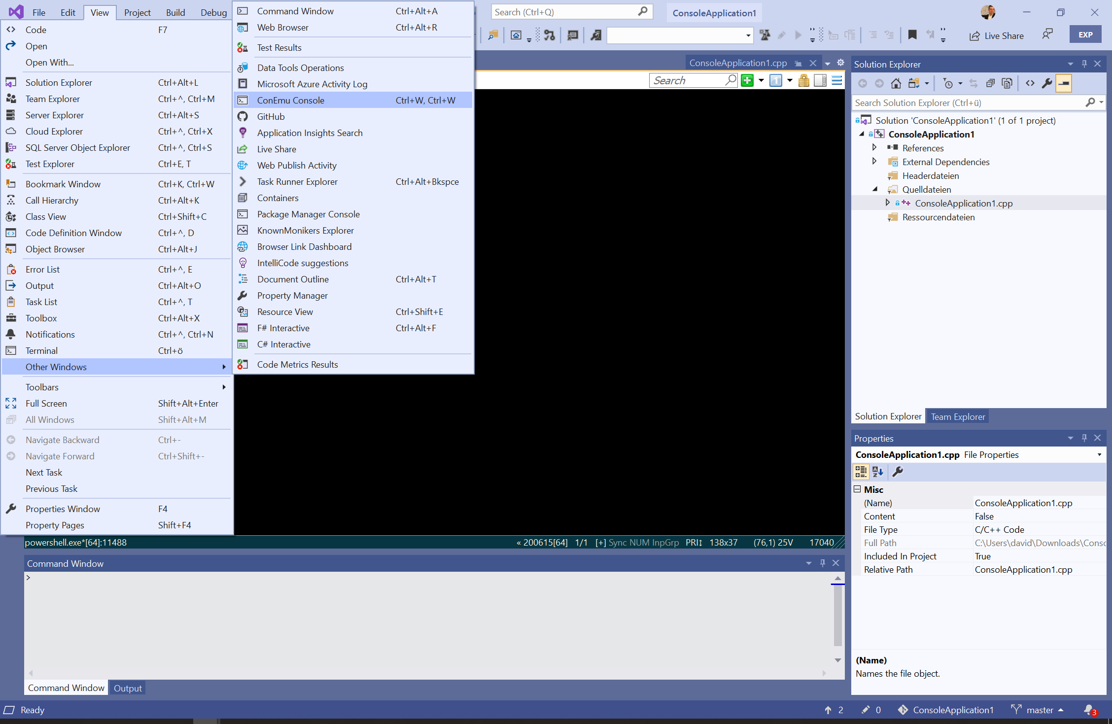 Open ConEmu integrated in Visual Studio