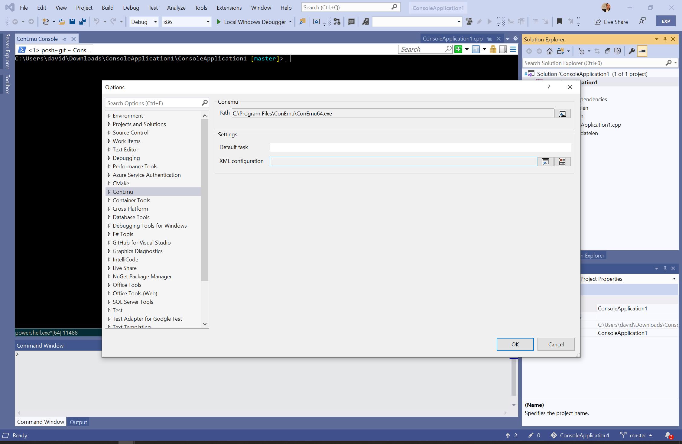 ConEmu executable path in Visual Studio settings