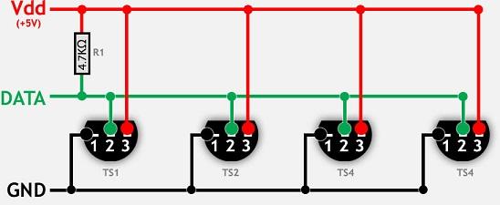DS18B20 Multiple Diagram