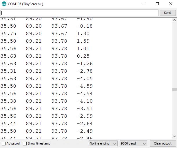 Serial monitor displaying pulse sensor values