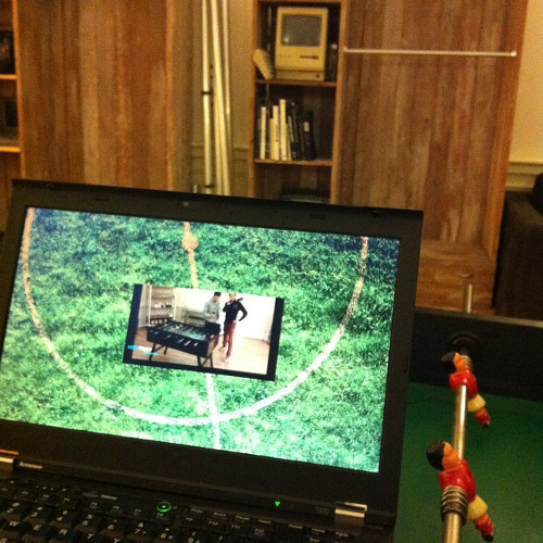 Live stream for foosball in action, much inception!