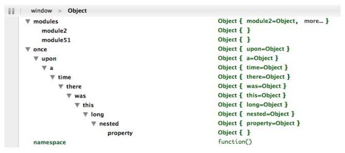 MYAPP命名空间在Firebug下的可视结果