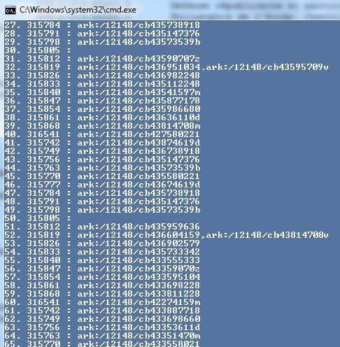 Copie d'écran : alignements en cours N° notice - ARK BnF