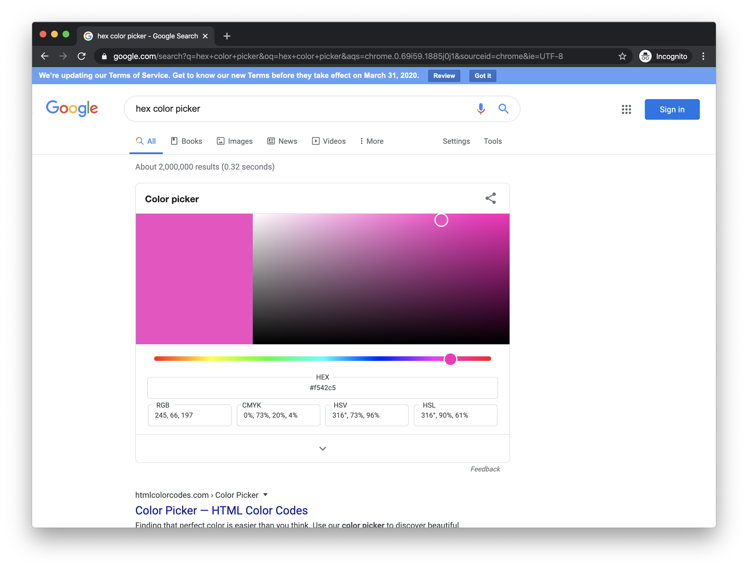 Google's hex color picker