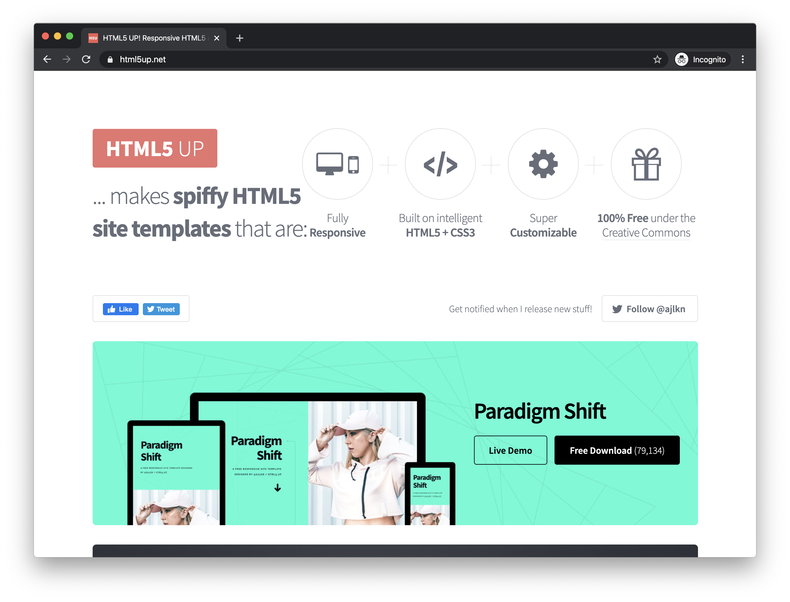 The HTML5 UP homepage