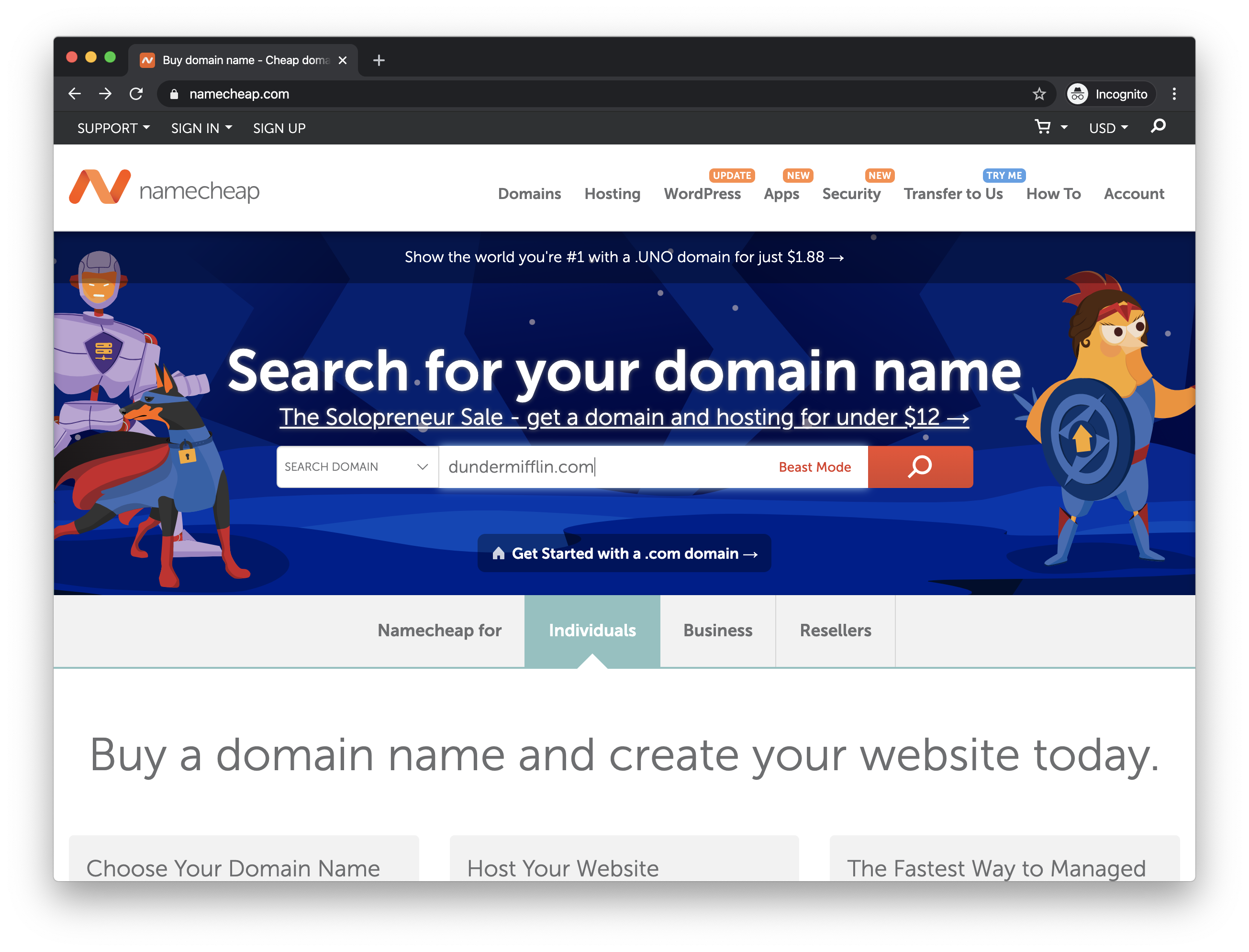 The Namecheap homepage