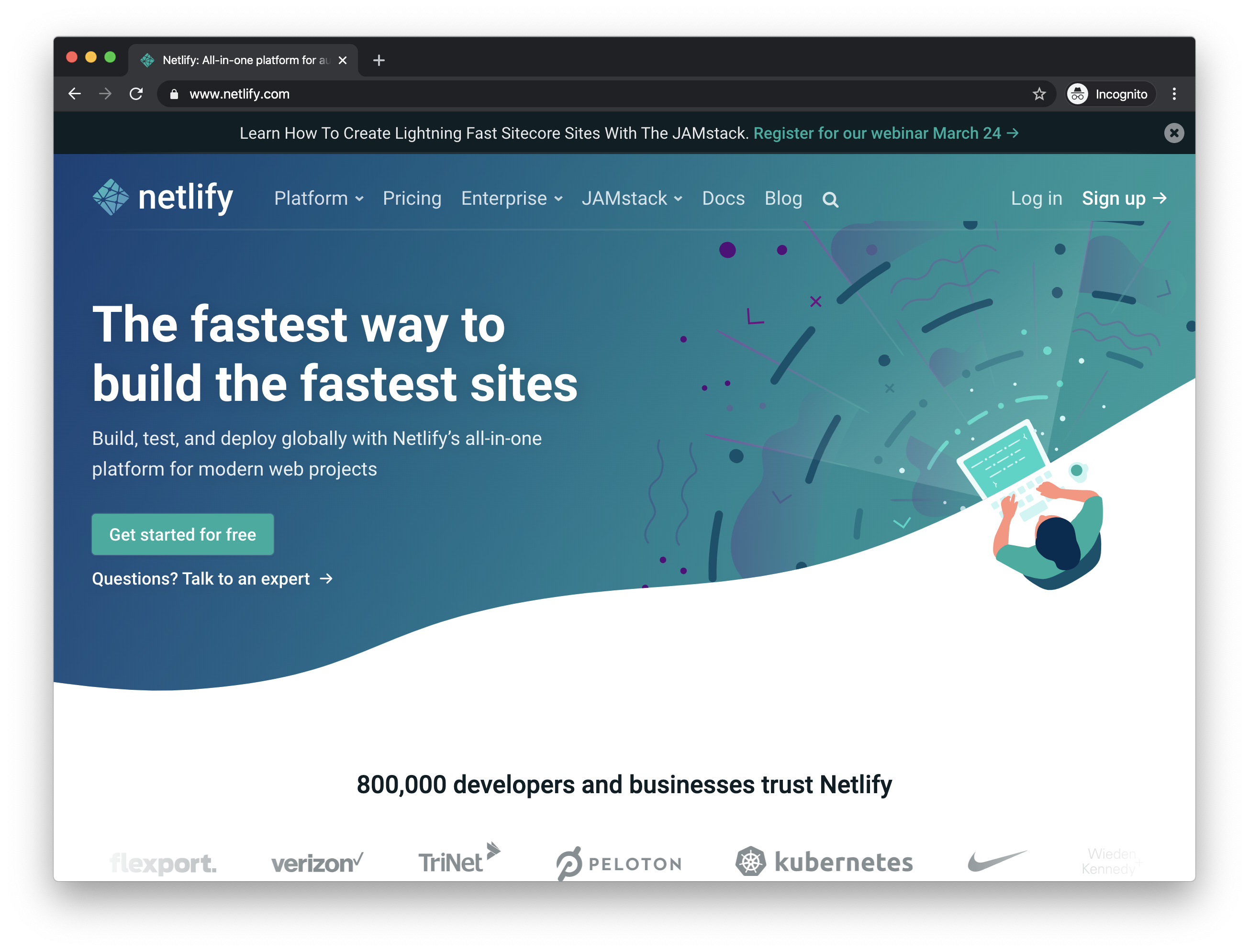 The Netlify landing page