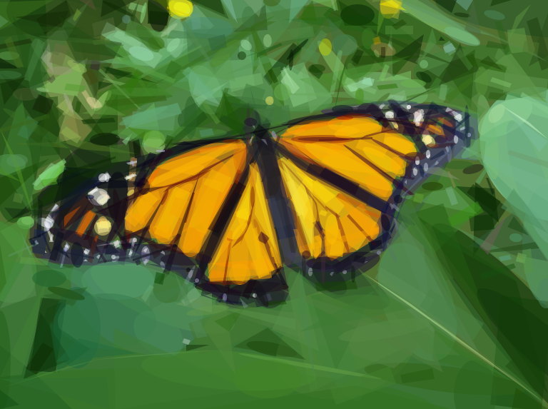 Geometrized Monarch Butterfly - 800 Various Shapes
