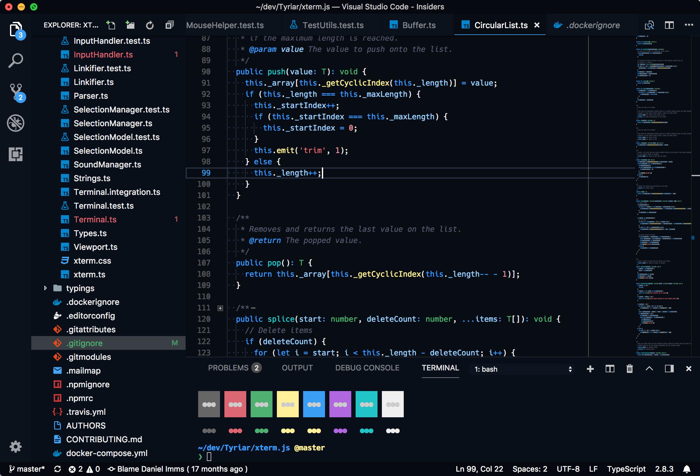 Visual Studio Code Sapphire (Dim) theme preview