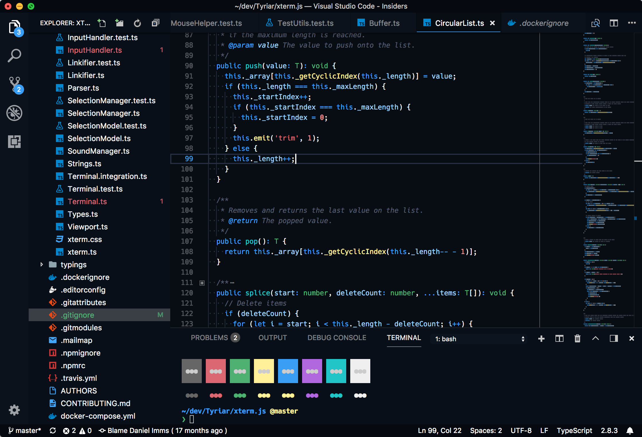 Visual Studio Code Sapphire (Dim) theme preview