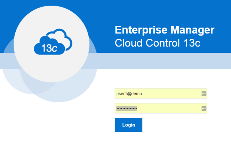 Enterprise Manager Cloud Control console login page