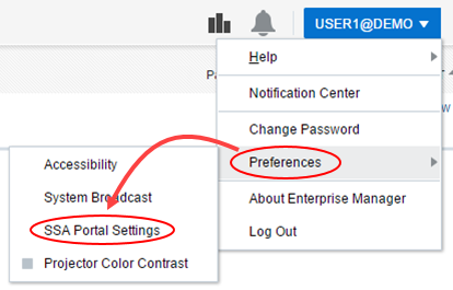 SSA Portal Settings menu option