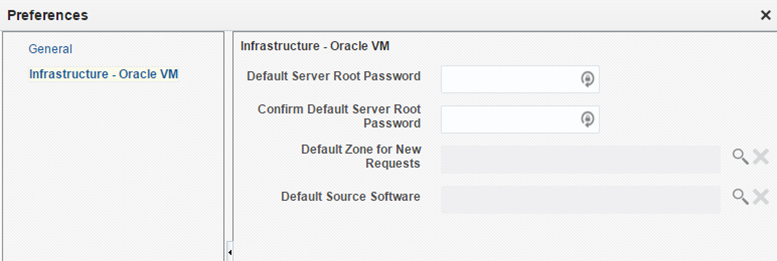 Oracle VM tab of Preferences dialog box