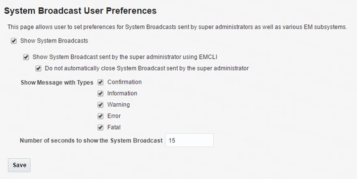 System Broadcast User Preferences page