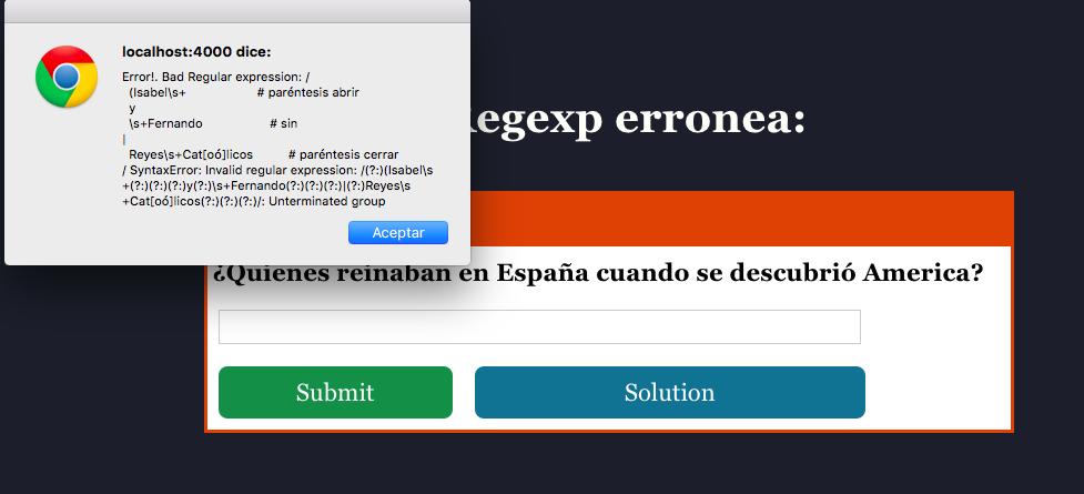 error message: bad regexp