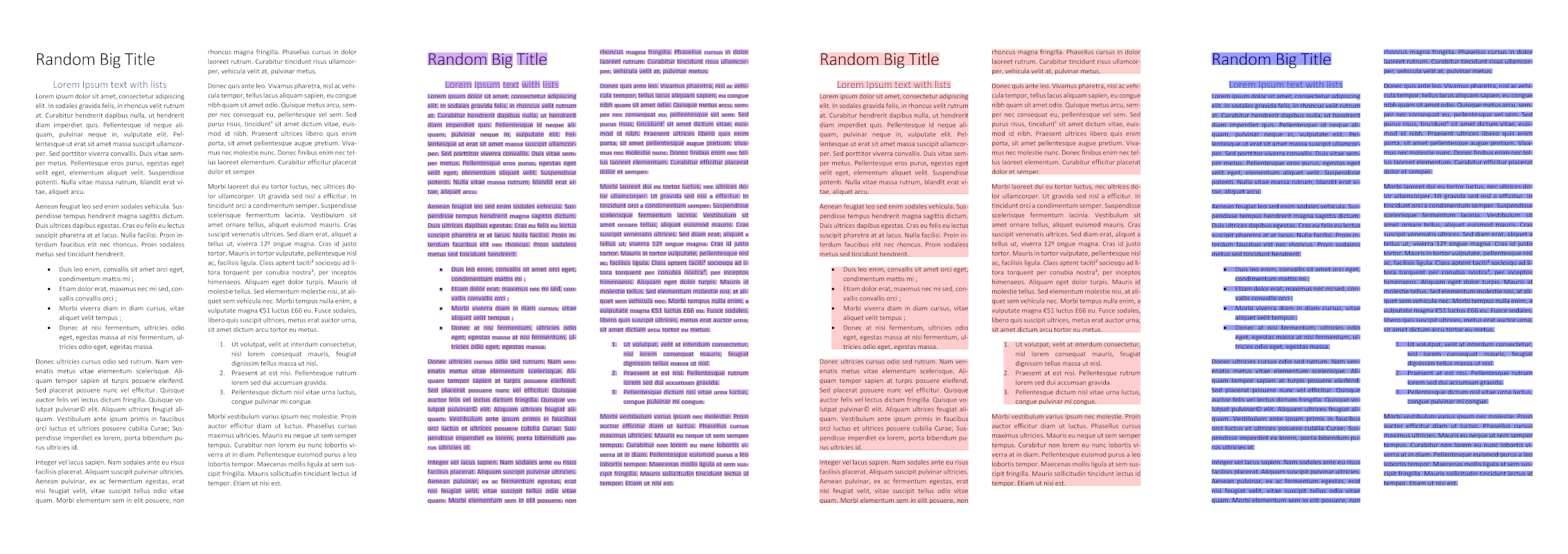 Output is a single page with two columns and some bulleted lists. The page has been divided into regions bounded in blue and words bounded in red.