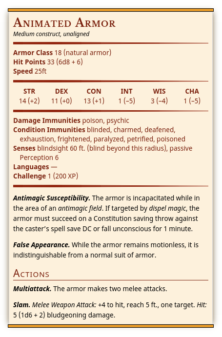 image regarding Printable Monster Cards 5e titled Statblock5e