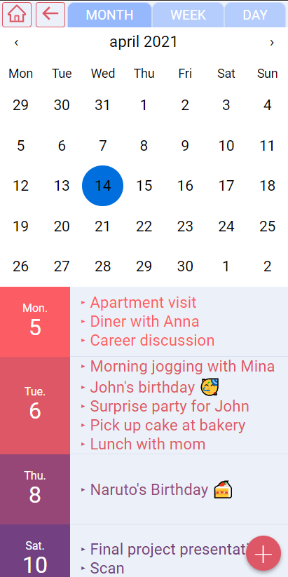 pinkplanner month