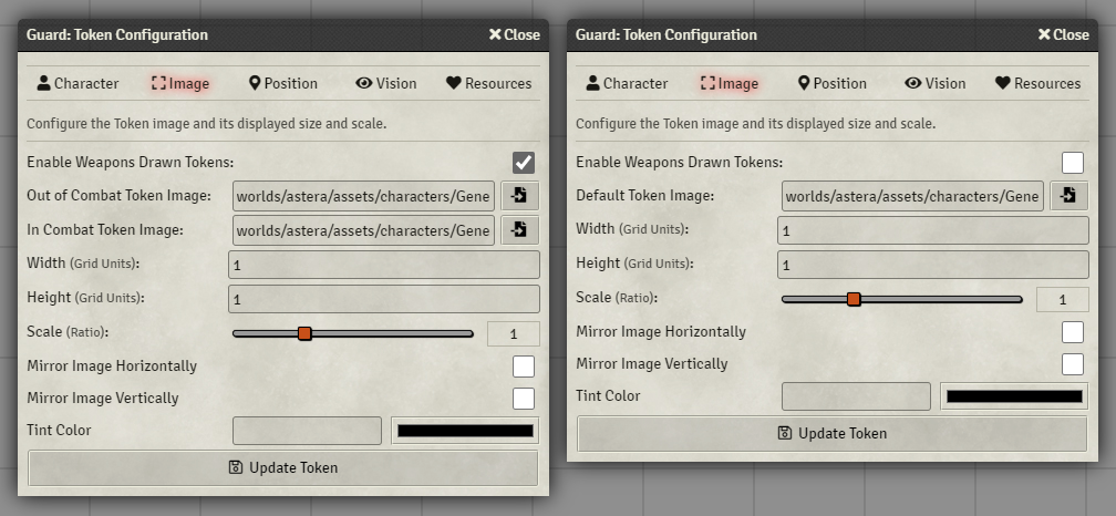 (Settings panel for WeaponsDrawn token images)