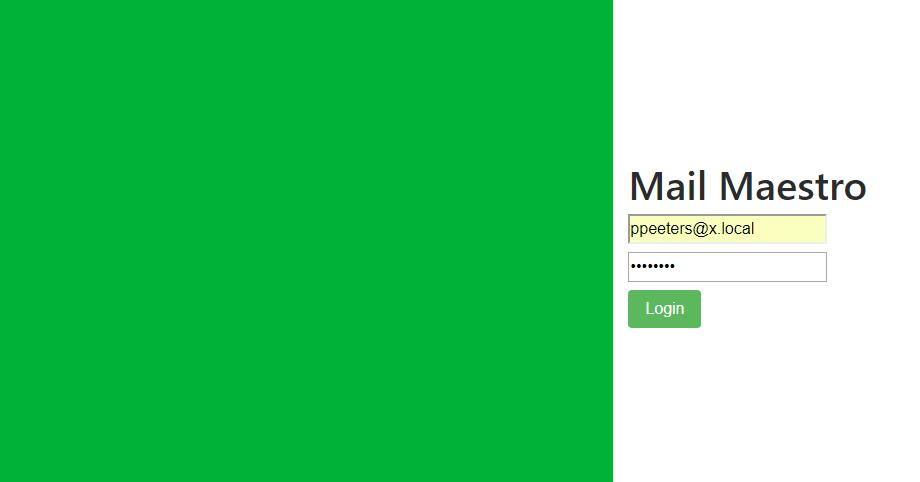 MailMaestro login screen
