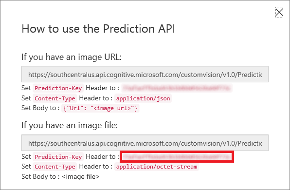 Copying the Prediction API key