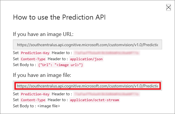 Copying the Prediction API URL