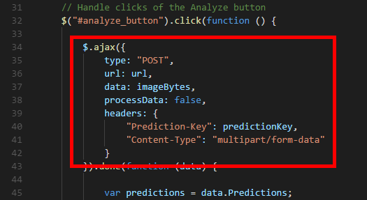 Making a call to the Prediction API