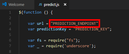 Adding the Prediction API URL