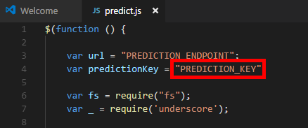 Adding the Prediction API key