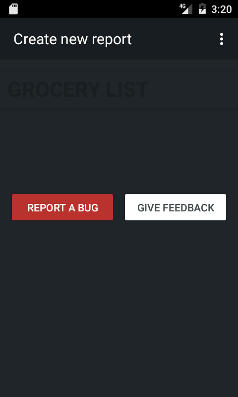 Report a bug or Send feedback