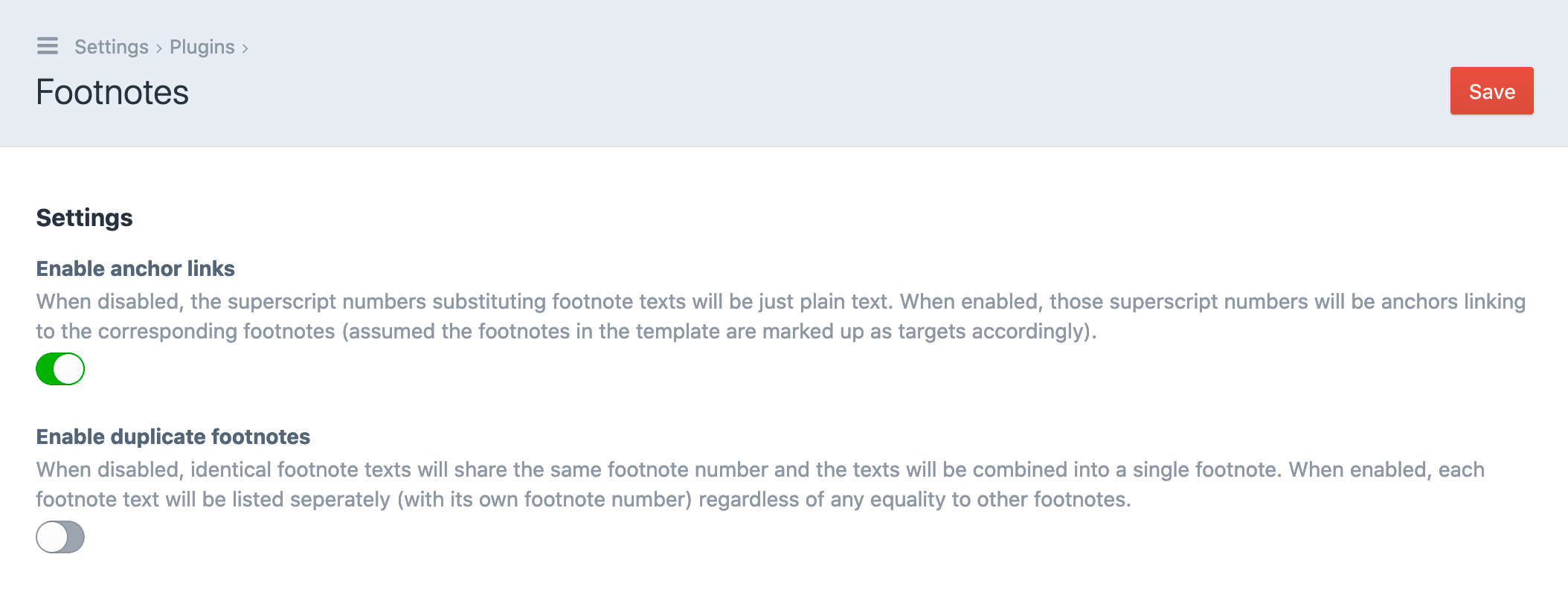 Screenshot of the Footnotes plugin's settings page