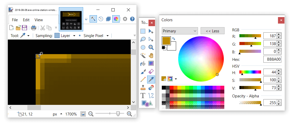 use the Paint.NET color picker too to read pixel values
