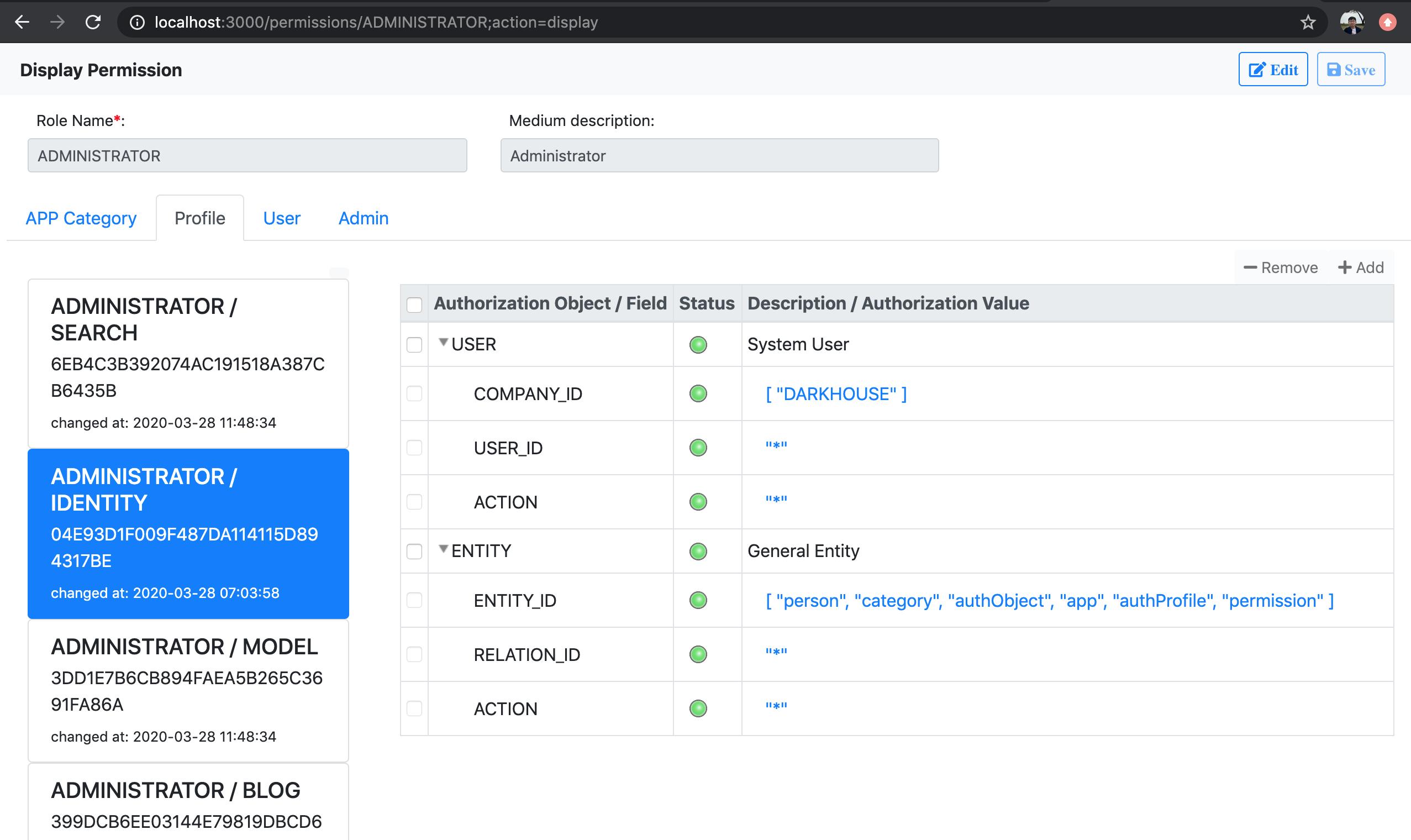 Permission Authorization Profiles